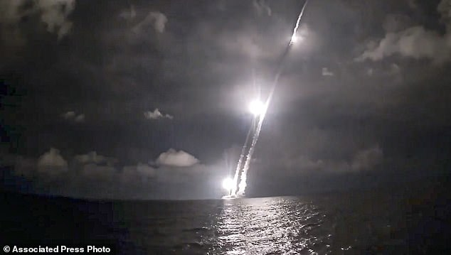 Intercontinental ballistic missiles are launched by the Vladimir Monomakh nuclear submarine of the Russian navy from the Sera of Okhotsk, Russia