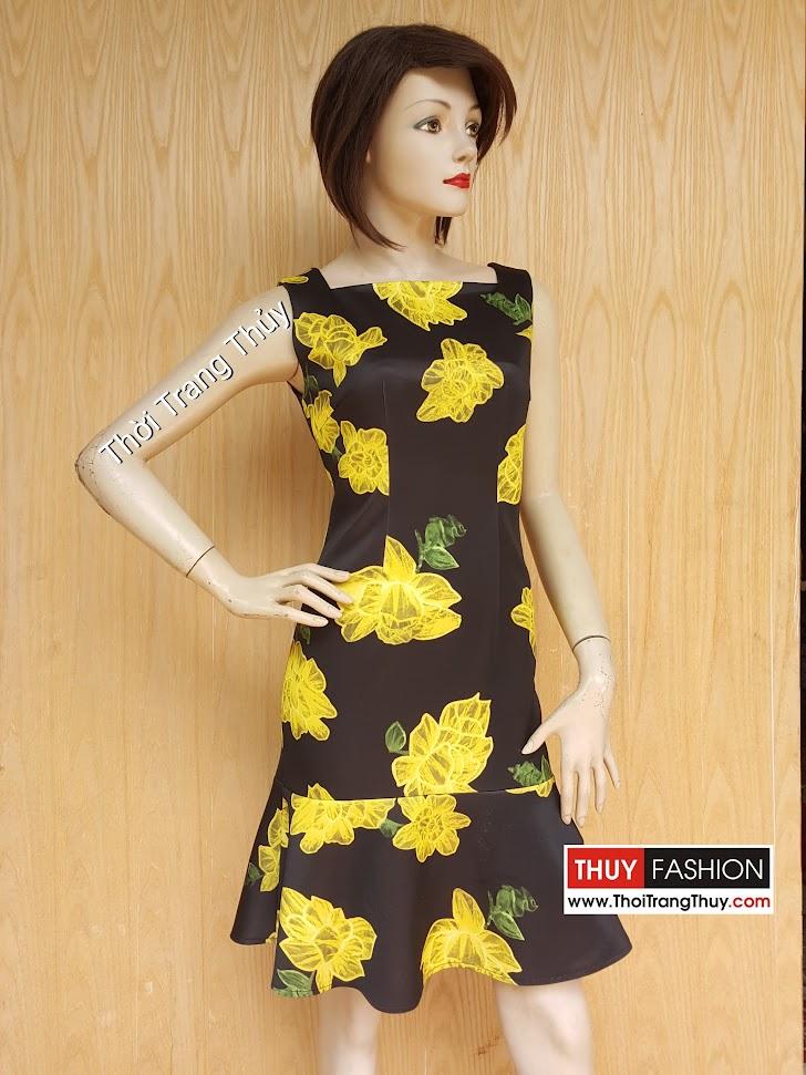 Váy liền xòe loa kèn họa tiết hoa màu vàng đen V450 Thời Trang Thủy