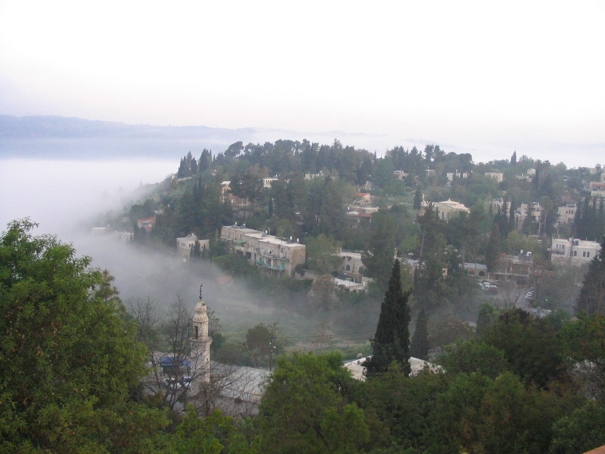 Fog settles in the valleys of Ein Karem, Jerusalem one early morning.
