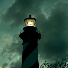 The St. Augustine Light by Carlos Holt - Buildings & Architecture Other Exteriors ( lighthouse, night, st. augustine, storm )