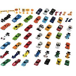 Set 58 masinute din fier cu accesorii din plastic