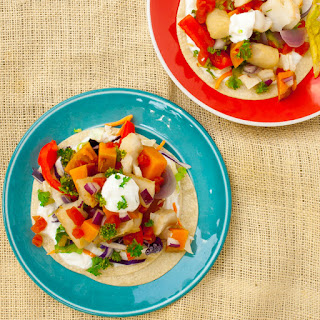 Slow Cooker Fish Tacos with Sweet Potatoes.