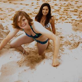Climbers by Carley Reed - People Street & Candids ( climb, sand, girls, bright, summer, beach )