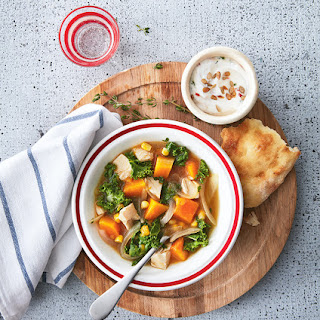 Chicken and Kale Stew with Chili Yogurt