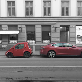 Contrast by Martina Frnčová - City,  Street & Park  Street Scenes ( red, cars, street, contrast, old and new, black and white,  )