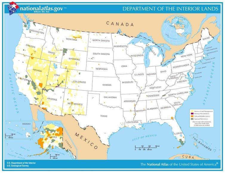 Mapa de terras públicas administradas pelo Ministério do Interior.