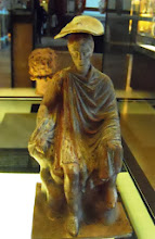 Photo: Terracotta young man with a cage 330-300 BC .......... Jongeman met kooi, terracotta, 330-300 v.C.