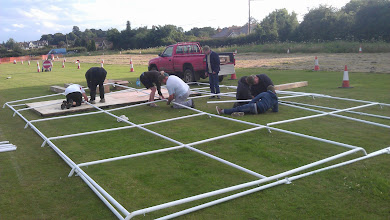 Photo: Putting up the new Acoustics gazebo was a challenge.