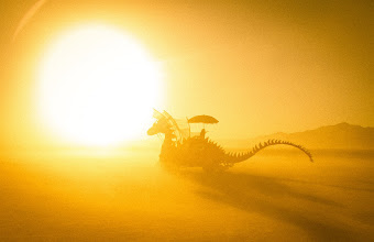 Photo: Dragon in the Afternoon Sun  The desert is covered with all sorts of exotic cars and wild creations. They roam the desert and play different kinds of music. Bikes like mine stay with them like remora on a shark.  I ride for miles and miles across the desert and there is always something new and strange to see...  and thanks for joining my live Google+ hangout from the desert. +Dave Veffer made a new friend... that free-love hula hoop gal would like your email address... so, man, let me know...  #SICInDatabase