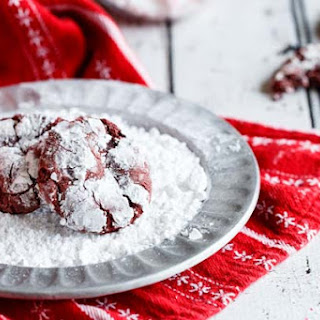 Red Velvet Peppermint Chocolate Chip Crinkle Cookies