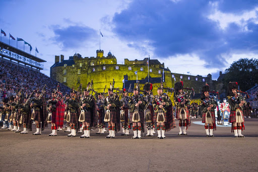 Bagpipers perform at the world-famous Royal Edinburgh Military Tattoo.