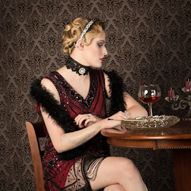 Lady in Red by Myra Brizendine Wilson - People Fashion ( models, roaring 20's theme, roaring 20's,  )