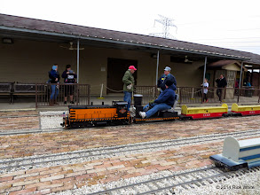 Photo: Train Master Bob Barnett (red cap), engineer Rich Businger, and Pete Greene with a nearly empty staion at 12:24 PM    HALS Public Run Day 2014-1115 RPW