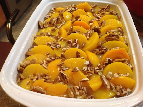 Remove and top with the remaining sliced peaches, and another 1/2 cup chopped pecans,...