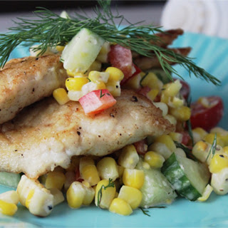 Fried Porgy with Roasted Corn Salad