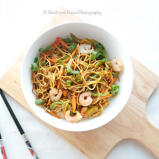Indo-Chinese Shrimp Chow Mein