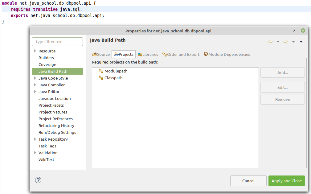 net.java_school.db.dbpool.api module Java Build Path