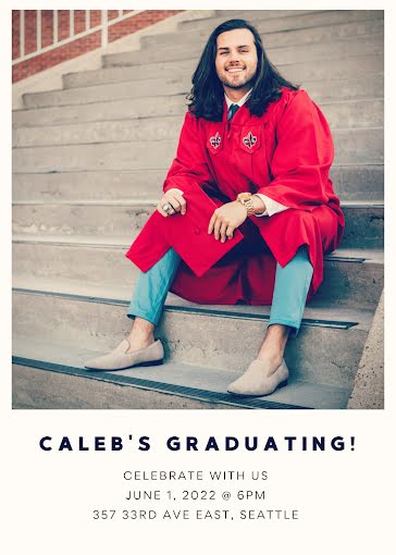 Caleb's Graduation Party - Graduation Announcement Template