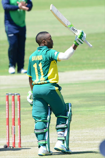Temba Bavuma of the Proteas celebrates his 100 runs during the Momentum ODI match between South Africa and Ireland at Sahara Park Willowmoore on September 25, 2016 in Benoni, South Africa. (Photo by Lee Warren/Gallo Images)