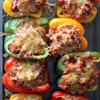 Quinoa and Turkey Sloppy Joe Stuffed Bell Peppers.