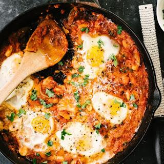 Spicy White Bean Eggs in Purgatory.