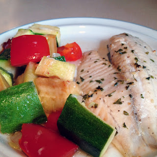Broiled Tilapia + Roasted Parmesan Summer Vegetables