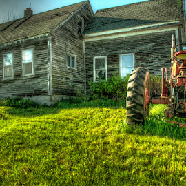 Still Standing by Chris Cavallo - Buildings & Architecture Decaying & Abandoned ( old house, orange, hdr, grass, gray, old building, old truck, tractor, decay, abandoned )