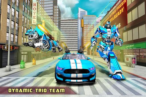 US Police Transform Robot Car White Tiger Game 1.2 screenshots 8