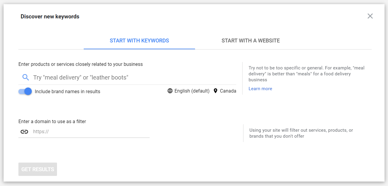 A search bar to discover new keywords