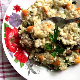 Romanian Vegetable Chicken Liver Rice Pilaf.