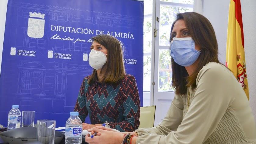 Ángeles Martínez y Carmen Belén López en la reunión telemática.