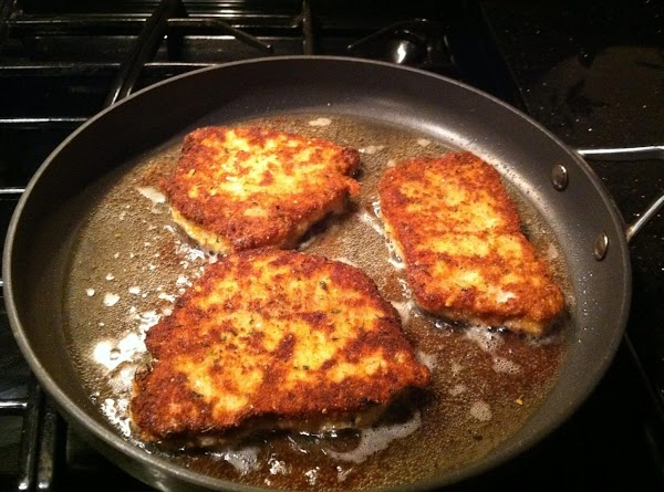 FRY TILL GOLDEN BROWN...ABOUT 4 MINUTES ON EACH SIDE ON MED/HIGH HEAT.  FINISH...