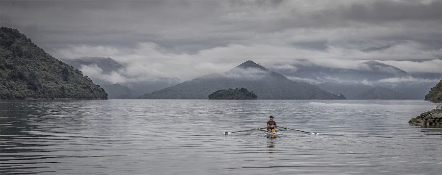 Out for a row by Ian Pinn - Sports & Fitness Other Sports ( sculling, mountains, rowing, cloud, canoe, new zealand, fjord, picton )