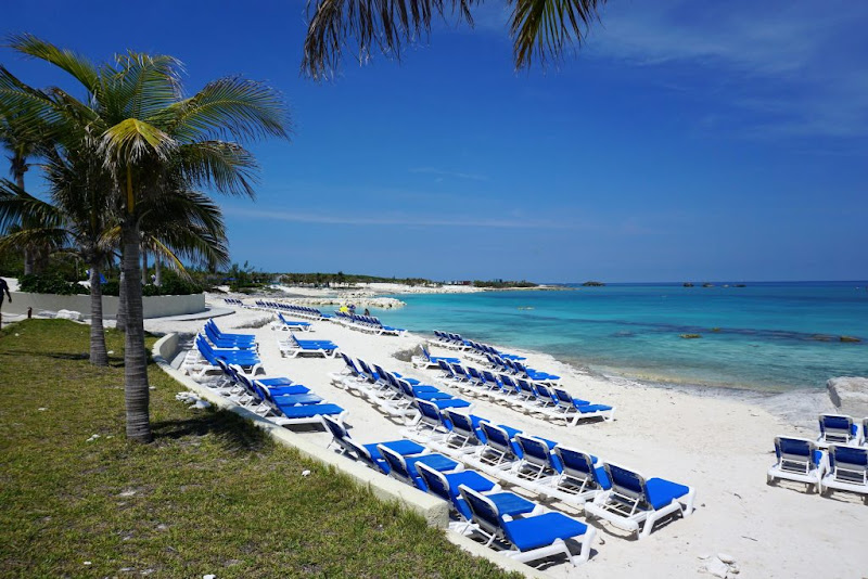 A morning look at the sandy beach at Great Stirrup Cay in the Bahamas.