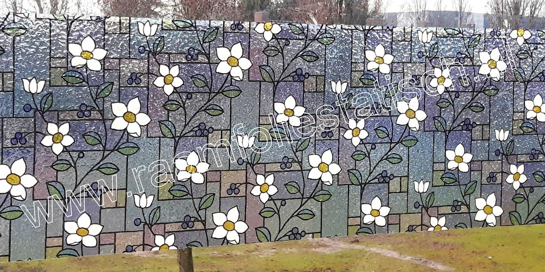 Statische decoratieve raamfolie glas in lood bloemetjes raamfoliestatisch for Verwijderbaar glas