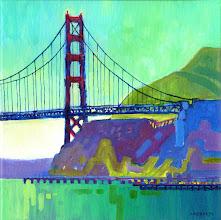 "Photo: ""Golden Gate"", acrylic on canvas 12"" x 12"", © Nancy Roberts"