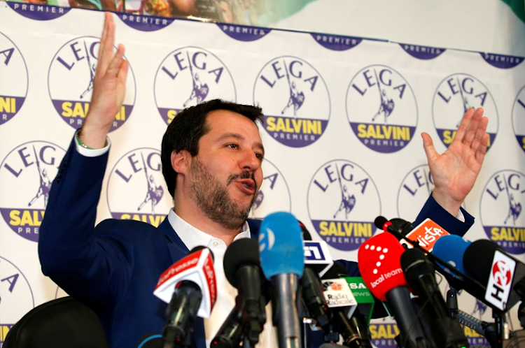 Matteo Salvini gestures at a news conference following Italy's parliamentary elections, in Milan, Italy, March 5 2018. Picture: REUTERS
