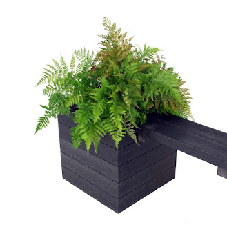 Black Recycled Plastic Planter with Fern