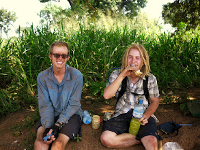 Photo: We met Pilgrim (right) in Gulu, Uganda where he joined us a cycled with us to Juba.