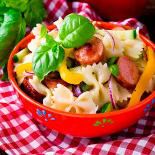 Warm Salad With Pasta And Sausages.