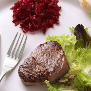 Filet Mignon with Roasted Beet Salsa.
