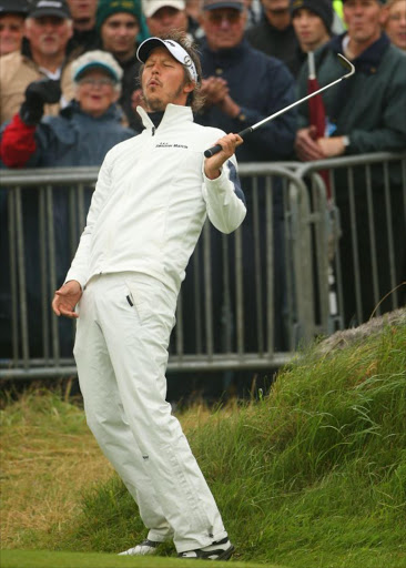 Fredrik Jacobson of Sweden reacts to a shot on the 18th hole during the second round of the 137th Open Championship on July 18, 2008 at Royal Birkdale Golf Club, Southport, England