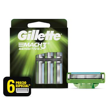 Repuestos Para Afeitar Gillette Mach3 Sensitive 6 Und