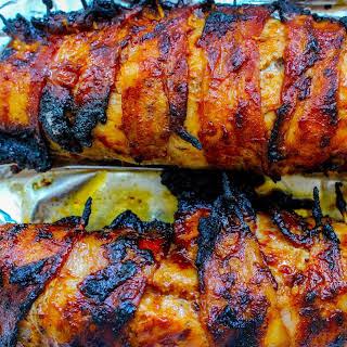 Grilled Barbecue Bacon Wrapped Pork Tenderloin.