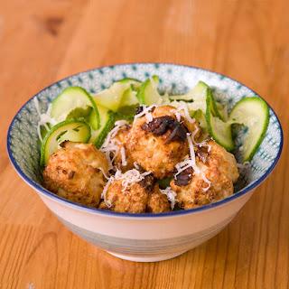 Gluten Free Sun-Dried Tomato & Feta Meatballs over Courgette Noodles