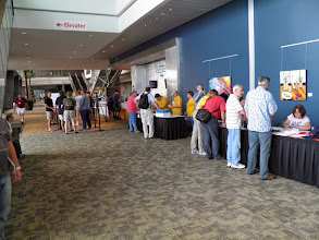 Photo: Registration has a decent crowd at 4 pm on Wednesday.
