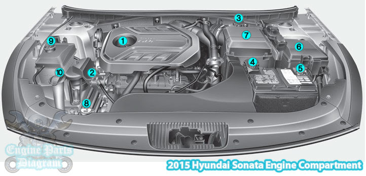 2015 Hyundai Sonata Engine Compartment Diagram (2.0 T-GDI)Engine Parts Diagram