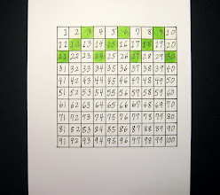 """Photo: This is my 3 Times Table using my green colored pencil. Yes, you are correct: I pointed and counted and colored, """"1,2,3...color the box green."""" So I colored: 3, 6, 9, 12, 15, 18, 21, 24, 27, and 30. And I can show you now  that 5 x 3 is 15! Just by counting the green boxes I colored... And I can also see that the green boxes have a Pattern: a Diagonal Line down to the left... If I keep counting by 3 and coloring all the way to 100, what will my Family of 3's look like on the page?"""