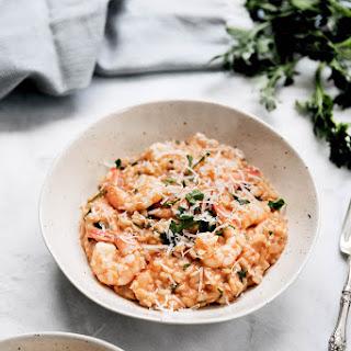 Late Summer Tomato + Shrimp Risotto