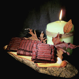 CHOCOLATE FUDGE BROWNIES by Karen Tucker - Food & Drink Candy & Dessert ( desserts, chocolate cakes, dessert, candlelight, uk, candle, still life, autumn leaves, cakes, food, chocolate fudge brownies )